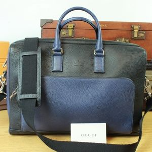 GUCCI Italy Leather Briefcase Shoulder Laptop Bag